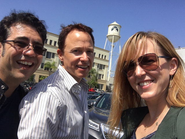 Roger Nygard takes a minute with Joke and Biagio on the Paramount lot. He's currently editing the final season of VEEP.