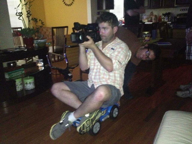 Behind the scenes on Ghost Inside My Child. Using a toy truck as a makeshift dolly. Indie spirit!